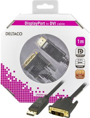 DisplayPort till DVI monitorkabel,  20-pin ha - ha 1 m