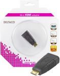DELTACO HDMI-adapter,  mini HDMI ha till HDMI ho, 19-pin, guldpläterad (HDMI-18-K)