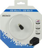 USB-adapter,  Micro-B hane till Mini 5-pin hona, svart