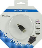 DELTACO USB-adapter Typ A ho - Typ Mini-B ha, svart (USB-72-K)