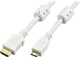 HDMI-kabel,  v1.4+Ethernet,  19-pin ha-Mini ha, 1080p, vit, 3m