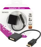 DELTACO DisplayPort - DVI-D Single Link sovitin, 0,2m, musta