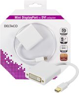 DELTACO mini DisplayPort til DVI-I adapter, ha-hu, 0,05m, hvit (DP-DVI5-K)
