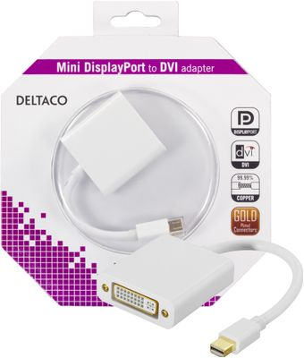 mini DisplayPort till DVI-I adapter, ha-ho, 0,05m, vit