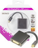 DELTACO mini DisplayPort till DVI-I adapter, ha-ho, 0,1m, svart (DP-DVI6-K)