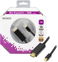 mini DisplayPort till HDMI kabel med ljud, ha-ha, 1m, svart