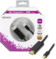 mini DisplayPort till HDMI kabel med ljud, ha-ha, 3m, svart