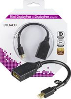 DELTACO Mini DisplayPort ha till  DisplayPort ho, 0,15m, svart (MDP-DP1-K)