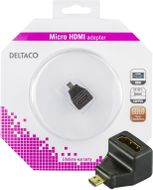 DELTACO HDMI High Speed with Ethernet adapter, Micro HDMI ha - HDMI hu (HDMI-24C-K)
