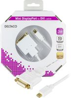 mini DisplayPort till DVI-I kabel, ha-ho, 3m, vit