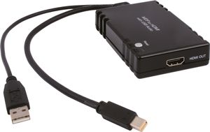 Mini DP till HDMI, HDCP 1.1, 1080p, USB, DisplayPort 1.0,  svart