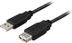 DELTACO USB 2.0 kabel Type A han - Type A hun, 0,2m, sort