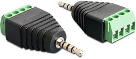 adapter, 2,5mm stereo ha till 4-pin terminalblock,  svart