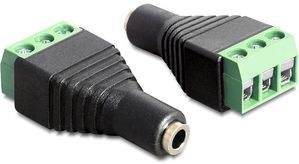 adapter, 3,5mm stereo ho till 3-pin terminalblock,  svart