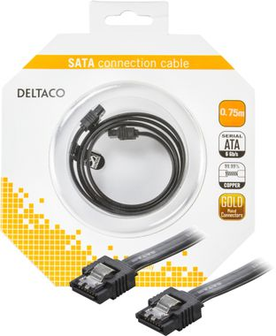 Sata 6 GPQS 75cm black with clips blister