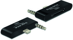 DELOCK adapter, Lightning ha och 3,5mm minitele ha - 30-pin ho, sv (65493)