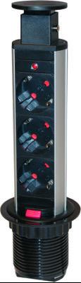 SmartLine PopUp  grenuttag,   3xCEE 7/4, 1,5m kabel, svart