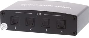 Toslink-splitter,  1 till 4, Toslink, plug and play, svart