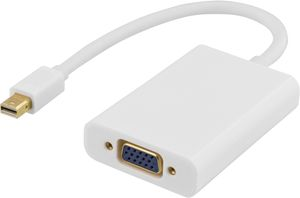 DELTACO mini DisplayPort till VGA-adapter med ljud, 0,25m, vit (DP-VGA14)