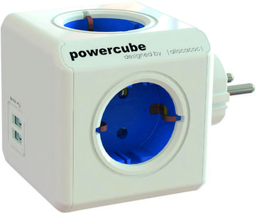 ALLOCACOC PowerCube Original 4 uttag, 2 USB, Blå (44-1202)
