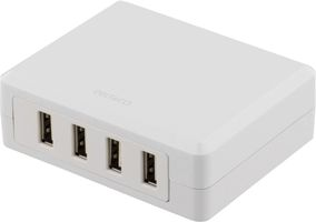 Laddningstation,  4x 5V USB, 6,8A, vit
