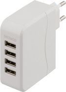 Laddningstation,  4x 5V USB, 4,5A, vit