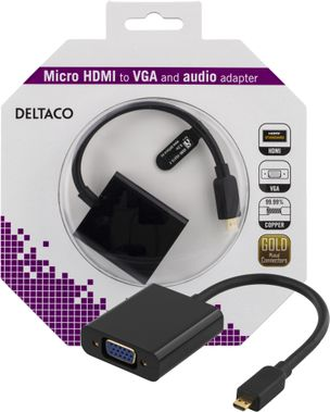 micro HDMI till VGA-adapter, 19-pin ha -15-pin+3, 5mm,  0,2m, sva