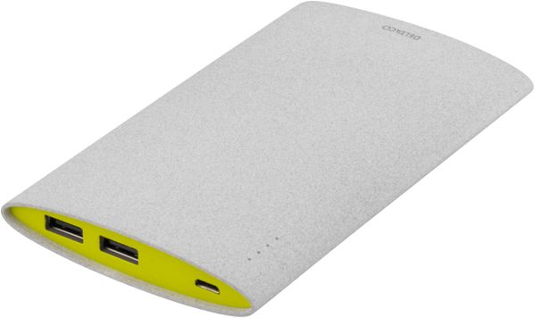 Power bank, slim, 6000mAh, 2xUSB, 5V 2,1A, grå