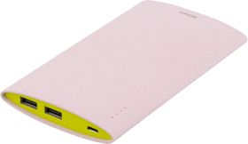 Power bank, slim, 6000mAh, 2xUSB, 5V 2,1A, rosa