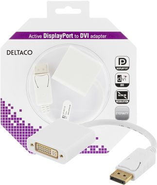 DisplayPort till DVI-D Single Link adapter, 4K, vit