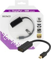 DELTACO mini DisplayPort till HDMI adapter, 4K, 0,2m, svart (DP-HDMI25-K)