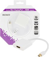 DELTACO mini DisplayPort till HDMI adapter, 4K, 0,2m, vit (DP-HDMI26-K)