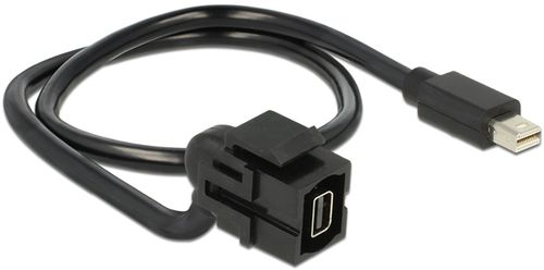 DELOCK Keystone modul, Mini DP ho - Mini DP ha, 0,5m kabel, svart (86374)