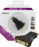 DELTACO DisplayPort till DVI-I Single Link adapter, ha-ho, svart (DP-DVI22-K)