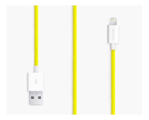 LE CORD SOLID YELLOW - USB-Lightning,  MFi, 1m, gul