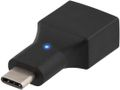 DELTACO USB 2.0 adapter, Type C - Type A F, black