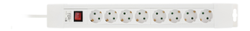 power strip 8xCEE 7/4, 1xCEE 7/7, power switch, 1,5m, white