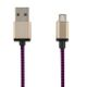 STREETZ USB cable, fabric coated, Type A M - Type Micro B, 3m, purple