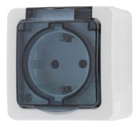 EPZI 1-way outlet with hinged lid for surface mounting, IP54, white