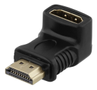 DELTACO HDMI adapter, 19-pin male to female, angled, black