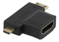 DELTACO HDMI adapter, HDMI FM to mini HDMI M and micro HDMI M
