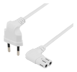 DELTACO Power cable EU type angel white 3 m