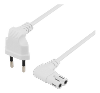 DELTACO Power cable EU type angel white 2 m (DEL-109BT)