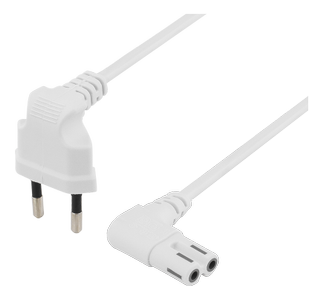 DELTACO Power cable EU type angel white 3 m (DEL-109BU)