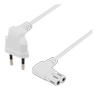 DELTACO Power cable EU type angel white 0,5m