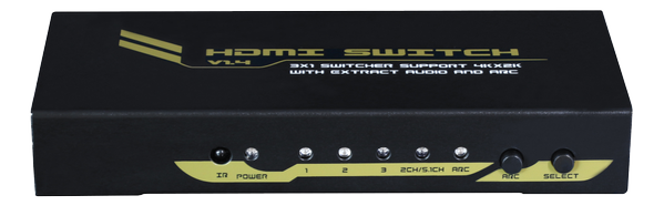 3x1 HDMI Switcher with audio output (Stereo, Toslink or COAX (RCA) v1.4