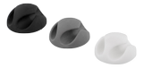 DELTACO self adhesive cable holder in rubber, 6-pack, black/ white/ gray