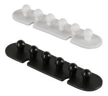 self adhesive cable holder, 5 cable slots, 2-pack, black/ white