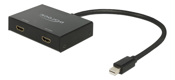 Displayport 1.2 Splitter 1x mini Displayport in>2x HDMI, svart