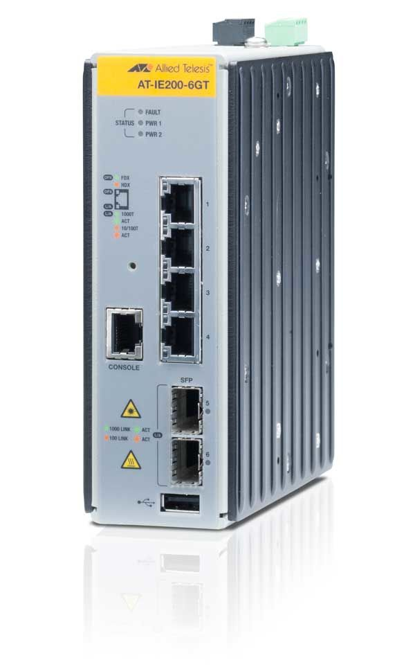 ALLIED TELESYN Managed Industrial switch with 2 x 100/1000 SFP,  4 x 10/100/1000T, no Wifi (AT-IE200-6GT-80)